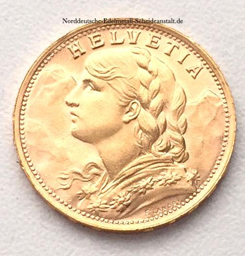 Schweiz Vreneli 20 Franken Goldmuenze