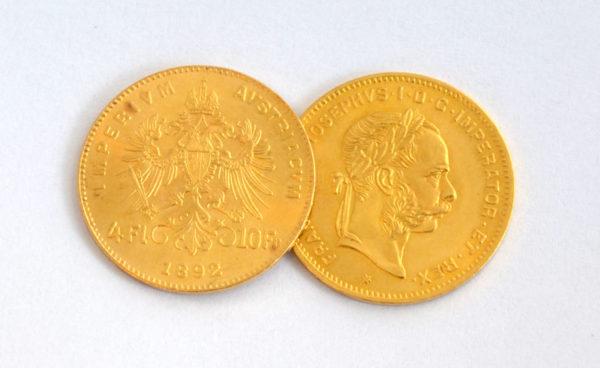 Oesterreich 4 Florin 10 Franken Goldmuenze