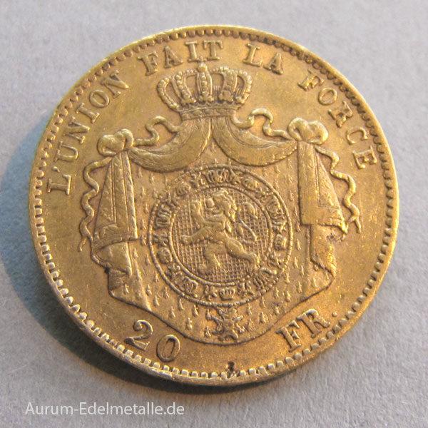 Belgien 20 Francs Gold Leopold II 1867-1882