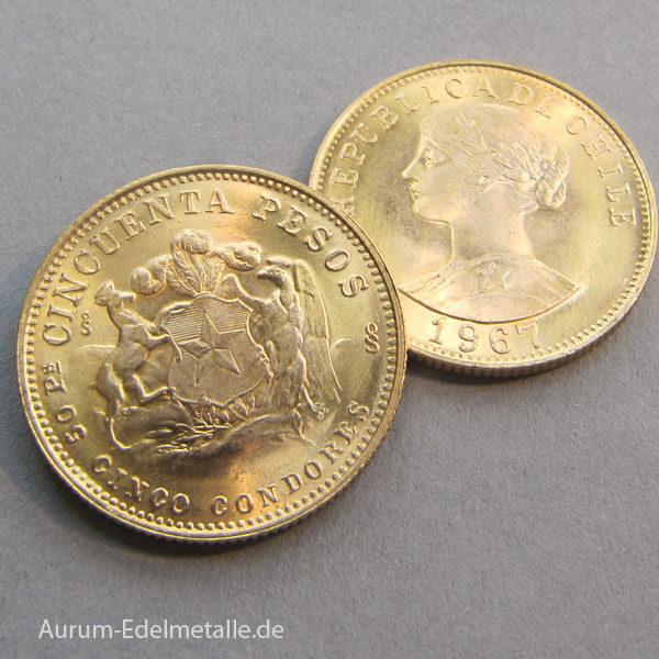 Chile 50 Pesos Goldmünzen Cinco Condores