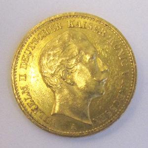 Deutsches Reich 20 Mark Gold 1891 Kaiser Wilhelm II