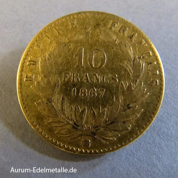 10 Francs Napoleon III 1861-1869 Goldmünzen
