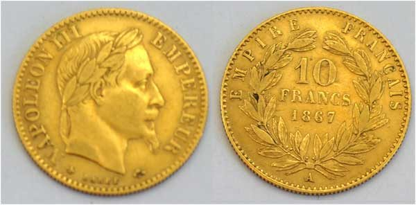 Frankreich 10 Francs Gold Napoleon III 1867