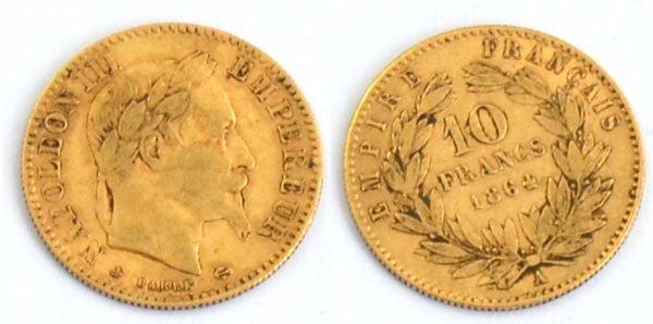Frankreich 10 Francs Gold Napoleon 1864 Sammlermünze