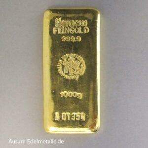 Goldbarren 1000g Feingold 9999 RESALE
