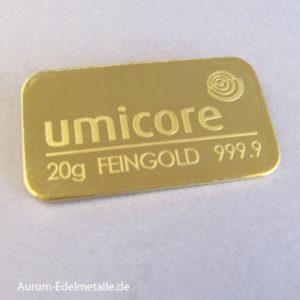 Goldbarren 20 Gramm Umicore
