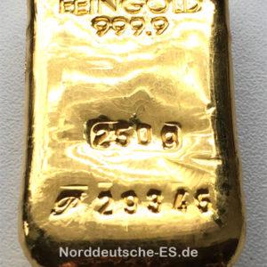 Goldbarren 250g Feingold 9999 gegossen diverse Hersteller