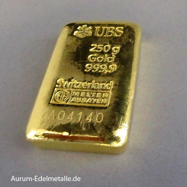 Goldbarren 250g Feingold
