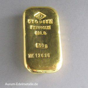 Goldbarren 500g Feingold 9999