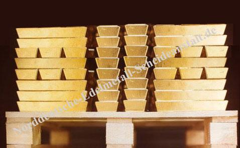 160 Goldbarren- 400 Unzen (rund 12,44 Kilo Feingold) aufgenommen in der Schweiz