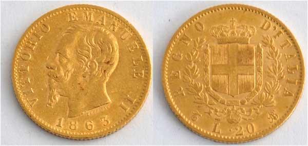 Italien 20 Lire Vittorio Emanuele II 1863