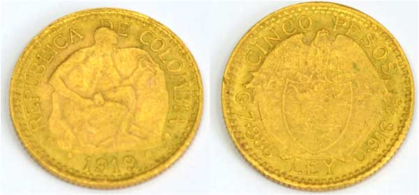 Kolumbien 5 Pesos Gold 1919