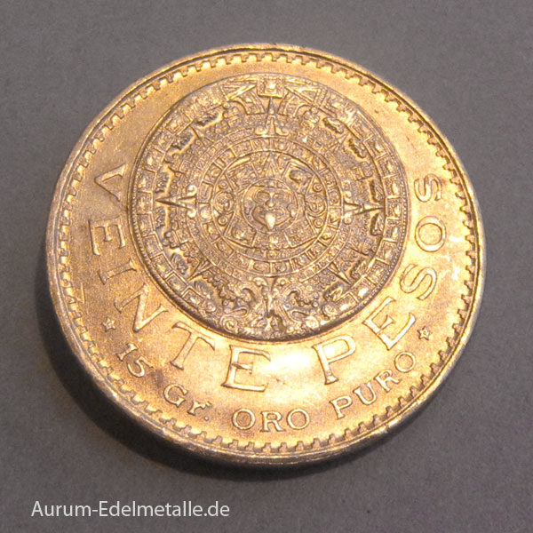 Mexiko-20-Pesos-Azteca-Goldmünze Sonnenrad