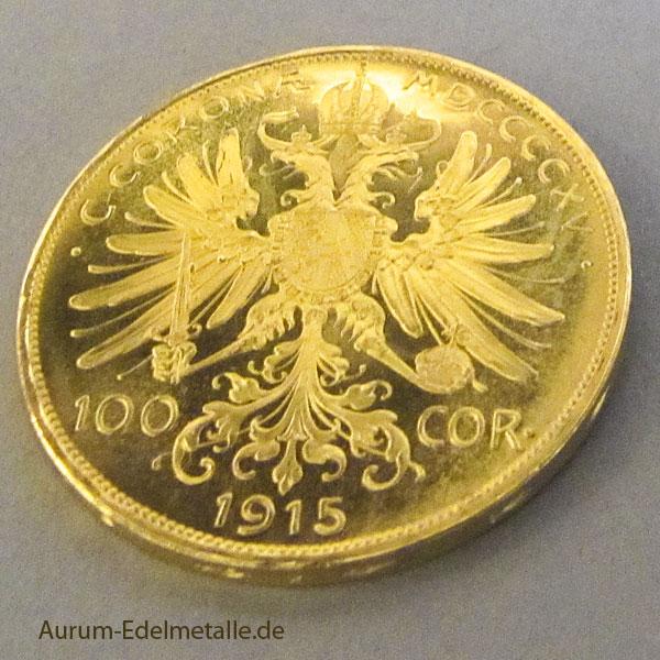österreich 100 Kronen Corona Goldmünze 1915 Franz Joseph