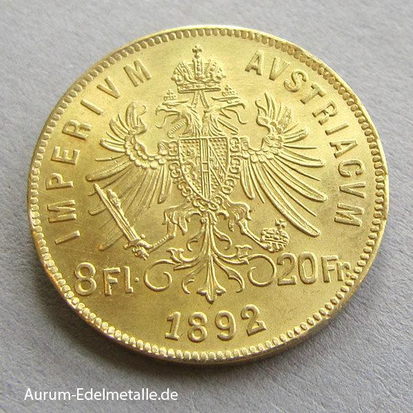 Österreich 8 Florin Gold 1892