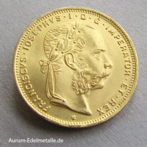 Österreich 8 Florin 20 Gulden Gold 1892