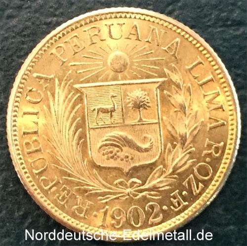 Peru Una Libra Gold 1902 Sammlermuenze