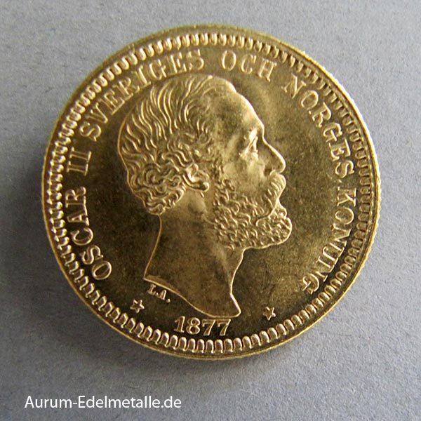 Schweden 20 Kronen Goldmünze Oskar II 1872-1907