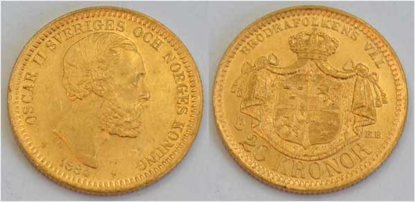 Schweden-Norwegen-1884-Oscar-II-20 Kronor