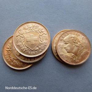 Schweiz Vreneli 20 Franken Goldmünze 1897-1949