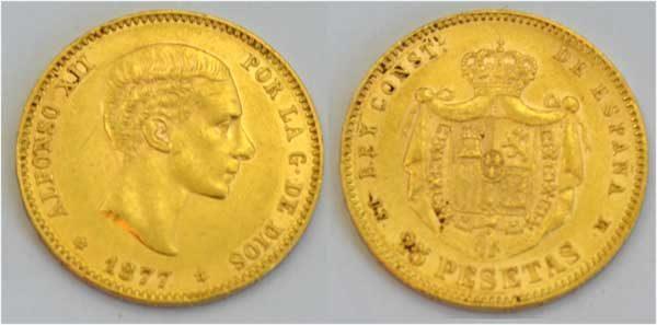 Spanien 25 Pesetas Gold Alfonso XII 1877