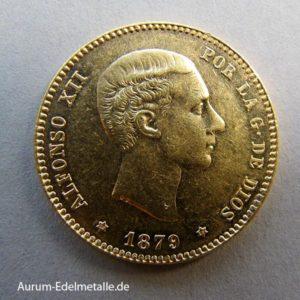 Spanien 25 Pesetas Gold Alfonso XII 1874-1885