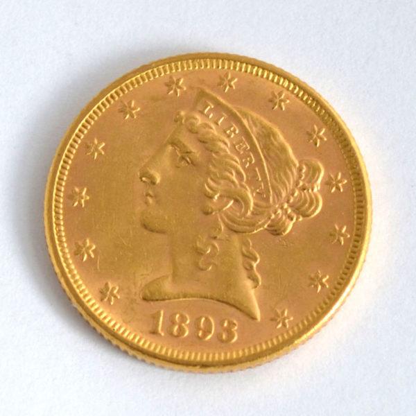 USA 5 $ Dollars Half-Eagle 1893 Liberty