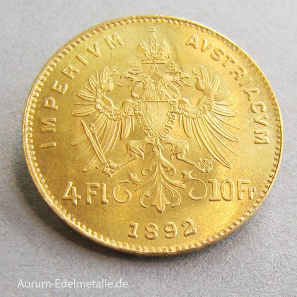 Österreich 4 Florin 1892 Gold Kaiser Franz Joseph