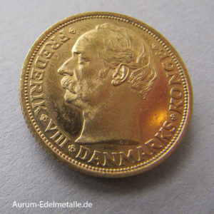 Dänemark 20 Kronen Frederik VIII Goldmünze 1908-1912