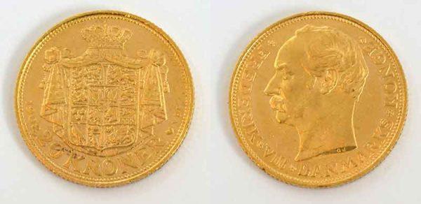 Daenemark 20 Kronen 1908 Koenig Frederik VIII Gold