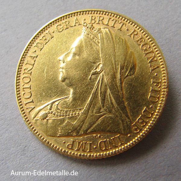 England One Pound Sovereign Queen Victoria Verschiedene Jahrgänge