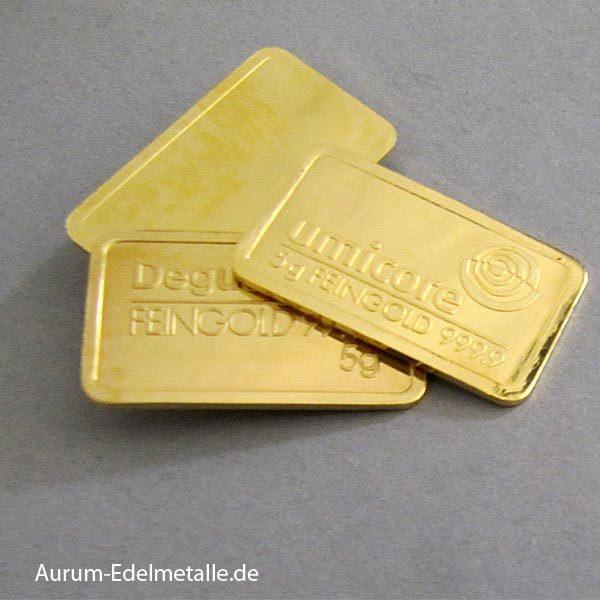 Goldbarren 5g Feingold 9999 diverse Hersteller