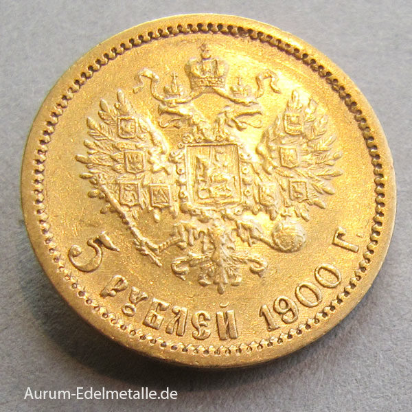 Russland 5 Rubel Gold 1900 Zar Nikolaus II
