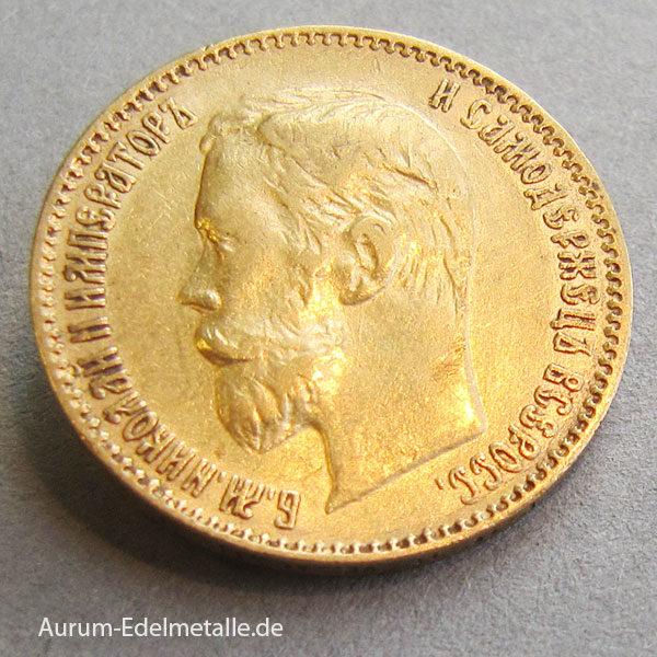 Russland 5 Rubel Zar Nikolaus II Gold 1897-1911