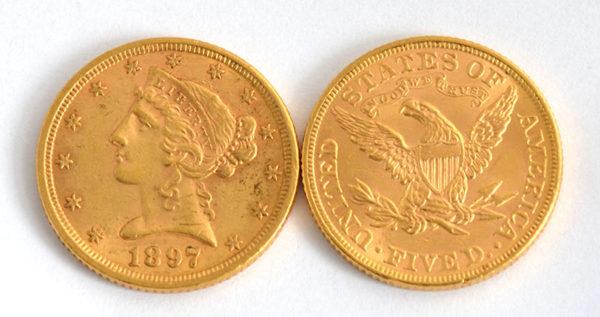 USA American Liberty Head 5 Dollars Half-Eagle 1795 - 1908