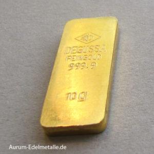 10 g Goldbarren Degussa