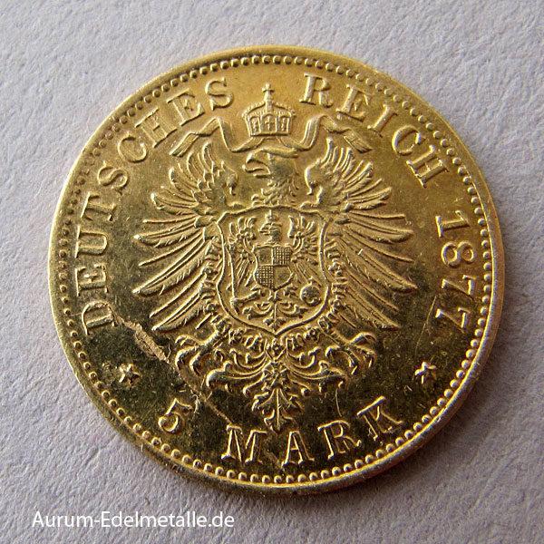Deutsches Reich 5 Mark Gold Wilhelm I Preussen 1877-1878