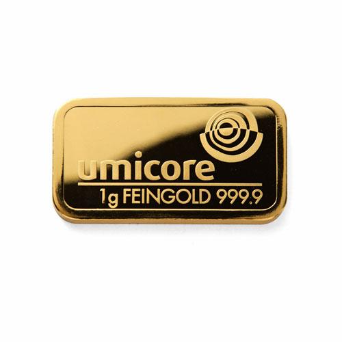 Goldbarren 1g Feingold 9999 Umicore