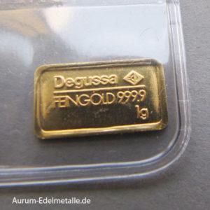 Goldbarren 1g Feingold 9999 verschiedene Hersteller