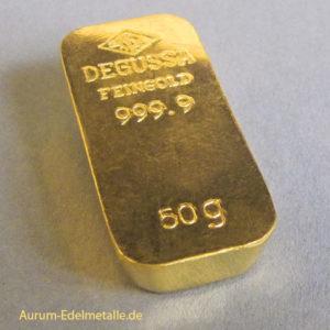 Goldbarren 50g Feingold 9999 Degussa gegossen historischer Barren Sargform