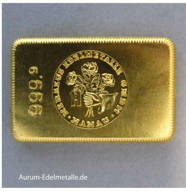 Goldbarren 100g historisch Heraeus historischer Sammlerbarren Feingold