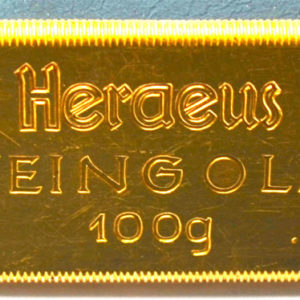 Goldbarren 100g historisch Heraeus Hanau