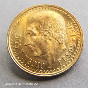 Mexiko 2_5 Pesos Dos y Medio Gold Münze
