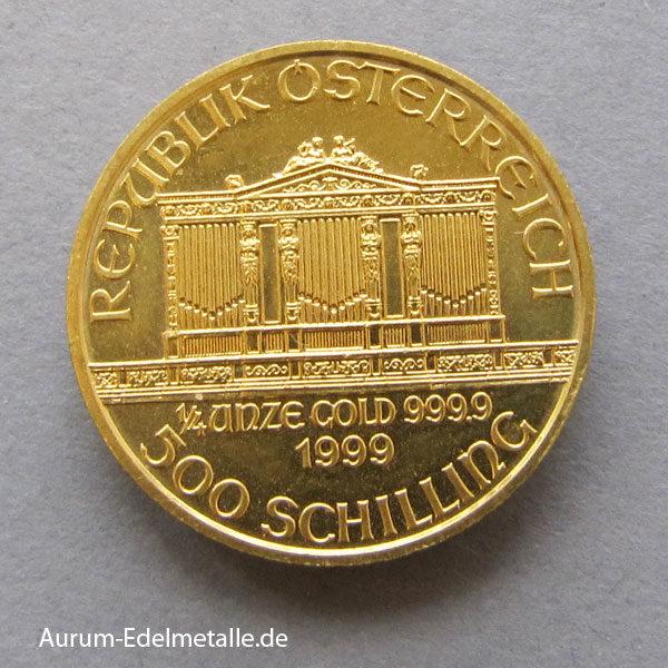 Österreich Wiener Philharmoniker 1_4 oz Feingold 9999 Goldmünze