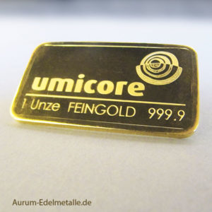 Goldbarren 1oz Feingold 9999 Umicore 1 Unze