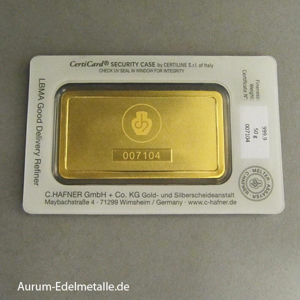 Goldbarren 50g Hafner Feingold 9999