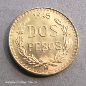 Mexiko Dos Pesos Gold die kleinste mexikanische Goldmünze 1945
