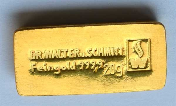 Goldbarren 20g Feingold 9999 Dr. Walter und Schmitt