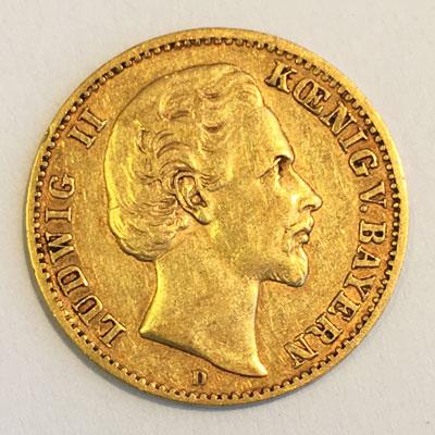 Deutsches Reich 10 Mark Koenig Ludwig von Bayern 1873