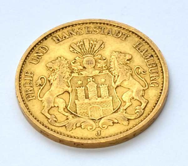 Deutsches Reich 20 Mark Gold 1876 Freie und Hansestadt Hamburg